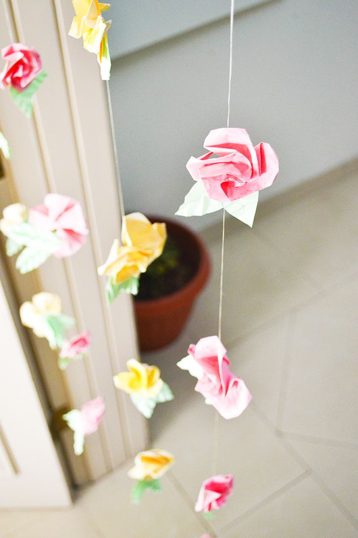 DIY Origami Flower Curtain for a whimsical spin to your decor