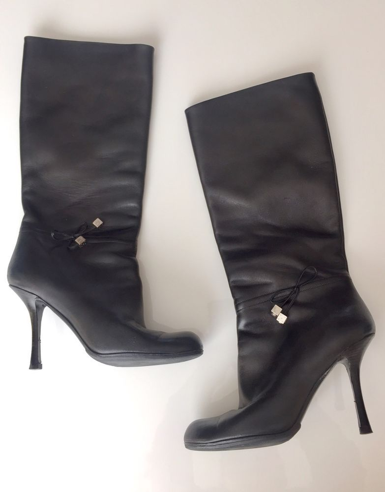 f0e4f5e64983 Christian Dior Black Leather Boots Silver Dice Bow Charms Size 39 Italy  Vibram #ChristianDior #MidCalfBoots #Casual