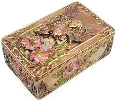 Gilt and enamel snuff box.