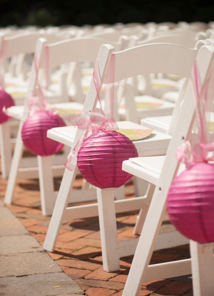 Red Paper Lantern Wedding Ceremony Chair Decor