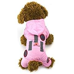 Idefair Pet Dog Cat Hoodie Waterproof Slicker Raincoat Jumpsuit Jacket (XS, Pink). * Want additional info? Click on the image. (This is an affiliate link) #Apparel