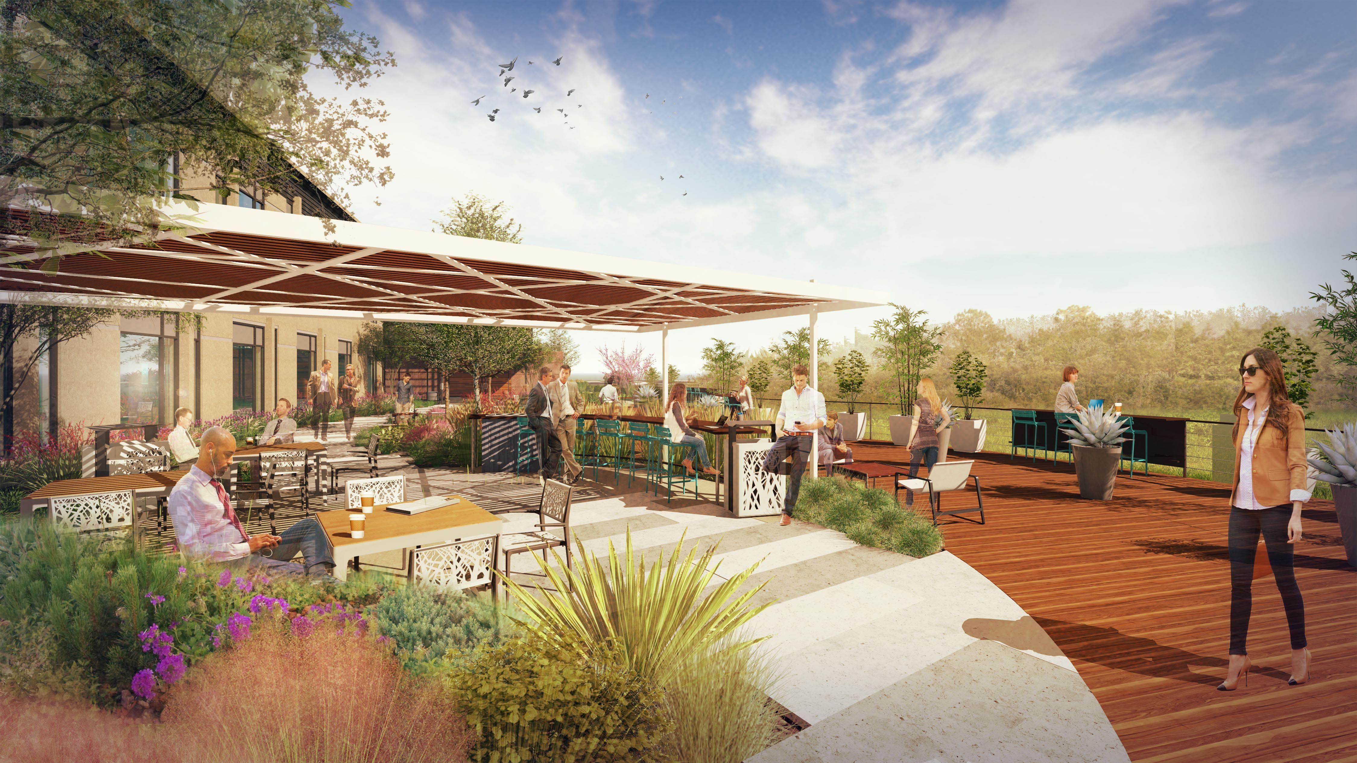 office patio design rendering perspective lumion photoshop sketchup pergola pavilion - Patio Landscape Architecture Design