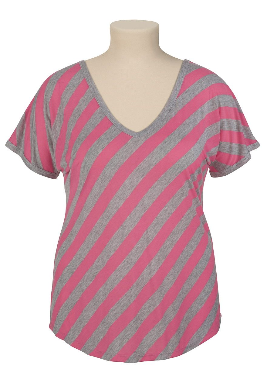 Flannel formal dress  super cute vneck tee in pink and grey diagonal stripes   My