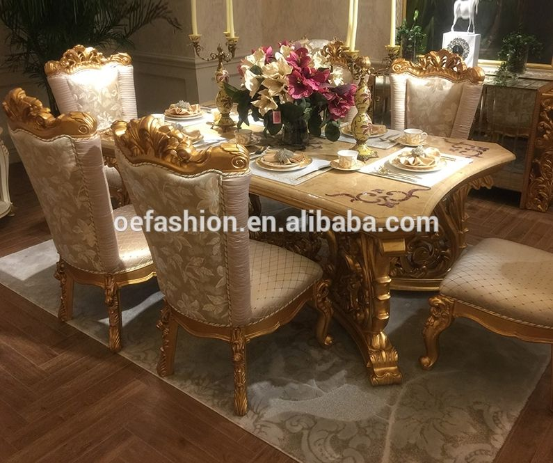 Royal European Classic Luxury Wooden Dining Room Sets Gold Carving