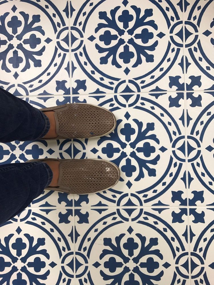 How To Paint A Floor With A Tile Stencil | Painting tile ...