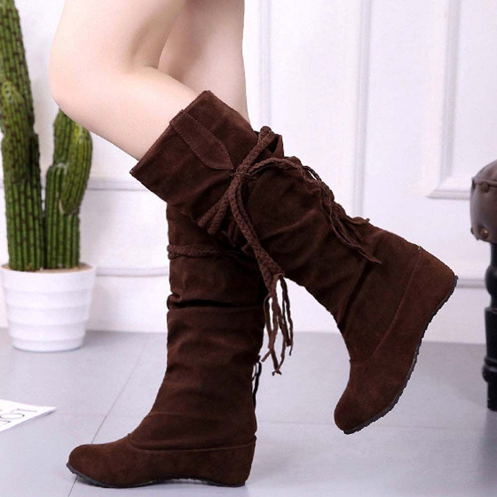 Womens Lace up Knee High Punk Long Boots Motorcycle Combat Riding Shoes Size Hot