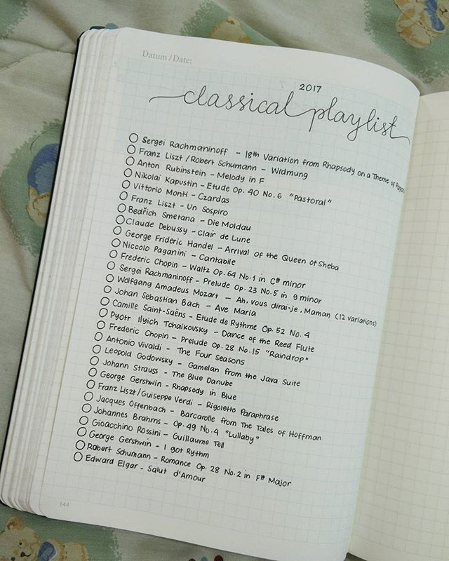 Current classical music playlist | Bullet journal ideas in