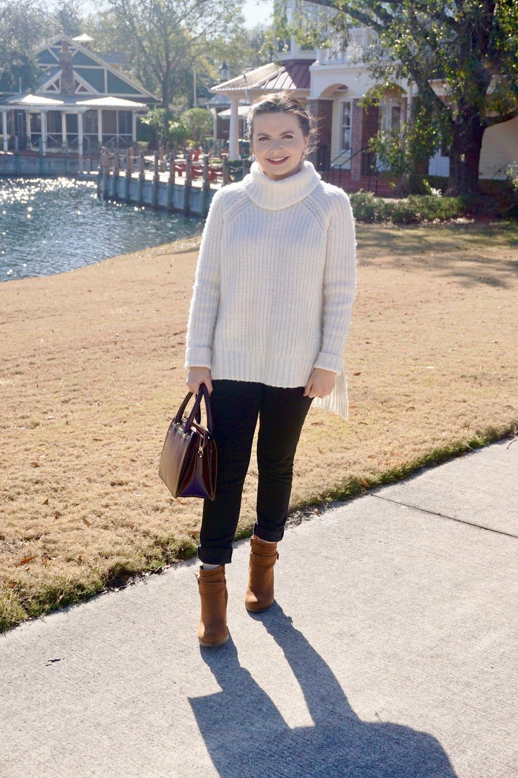 Winter Whites, black denim outfit, chunky white sweater