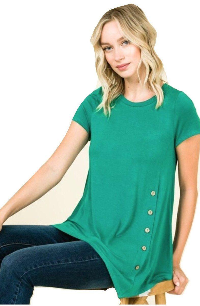 7bdb8ac309b Women s Emerald Green Solid Tunic Top in 2019