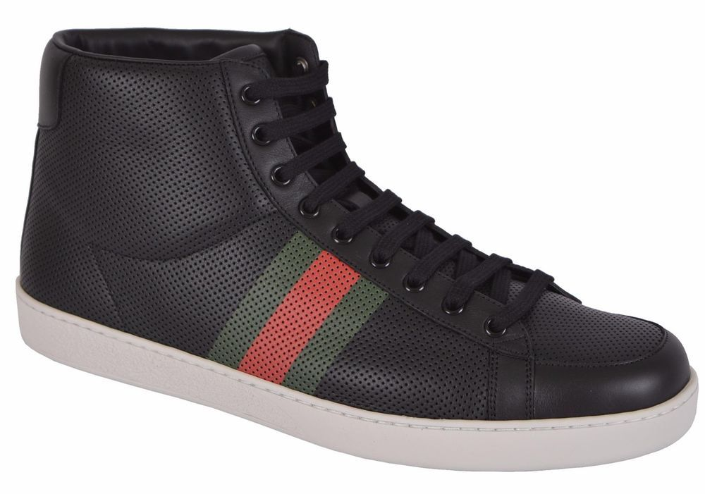 f16d7f799e4 NEW GUCCI MEN S 256647 GG GUCCISSIMA WEB STRIPE HIGHTOP SNEAKERS SHOES 13.5  G  Gucci  AthleticSneakers