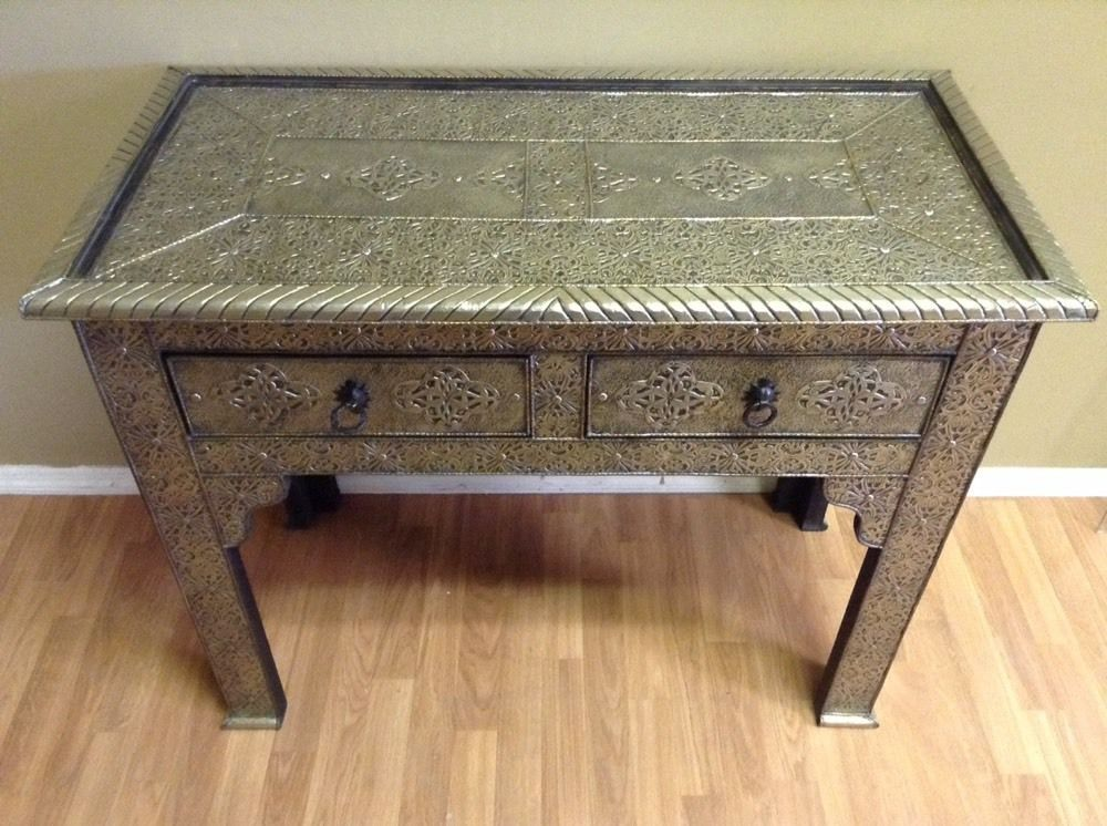 Great Moroccan Console Table Silver Carved U0026 Etched Metal Arabesque Furniture  #Handmade #Moroccan