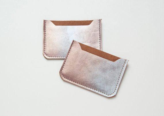 PRISM Painted Card Case. Metallic Leather Card by GiftShopBrooklyn, $22.00