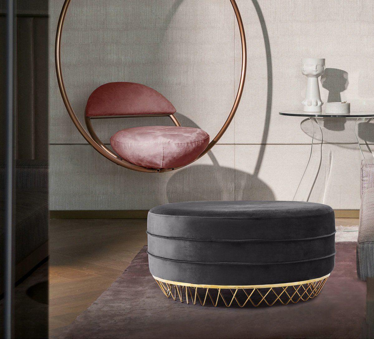 Meridian Furniture Revolve Grey Velvet Ottoman Coffee Table Upholstered Ottoman Coffee Table Ottoman Coffee Table Meridian Furniture [ 1088 x 1200 Pixel ]