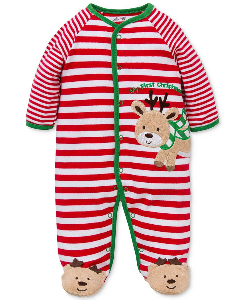 a29f51b589f4 Little Me Baby Boys  1-Pc. Footed Reindeer Pajamas - Baby Girl (0-24 ...