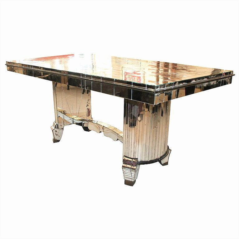 Skyscraper Deluxe 1930s French Art Deco Mirrored Dining Table Dining Table Diy Patio Furniture Modern Dining Room Tables