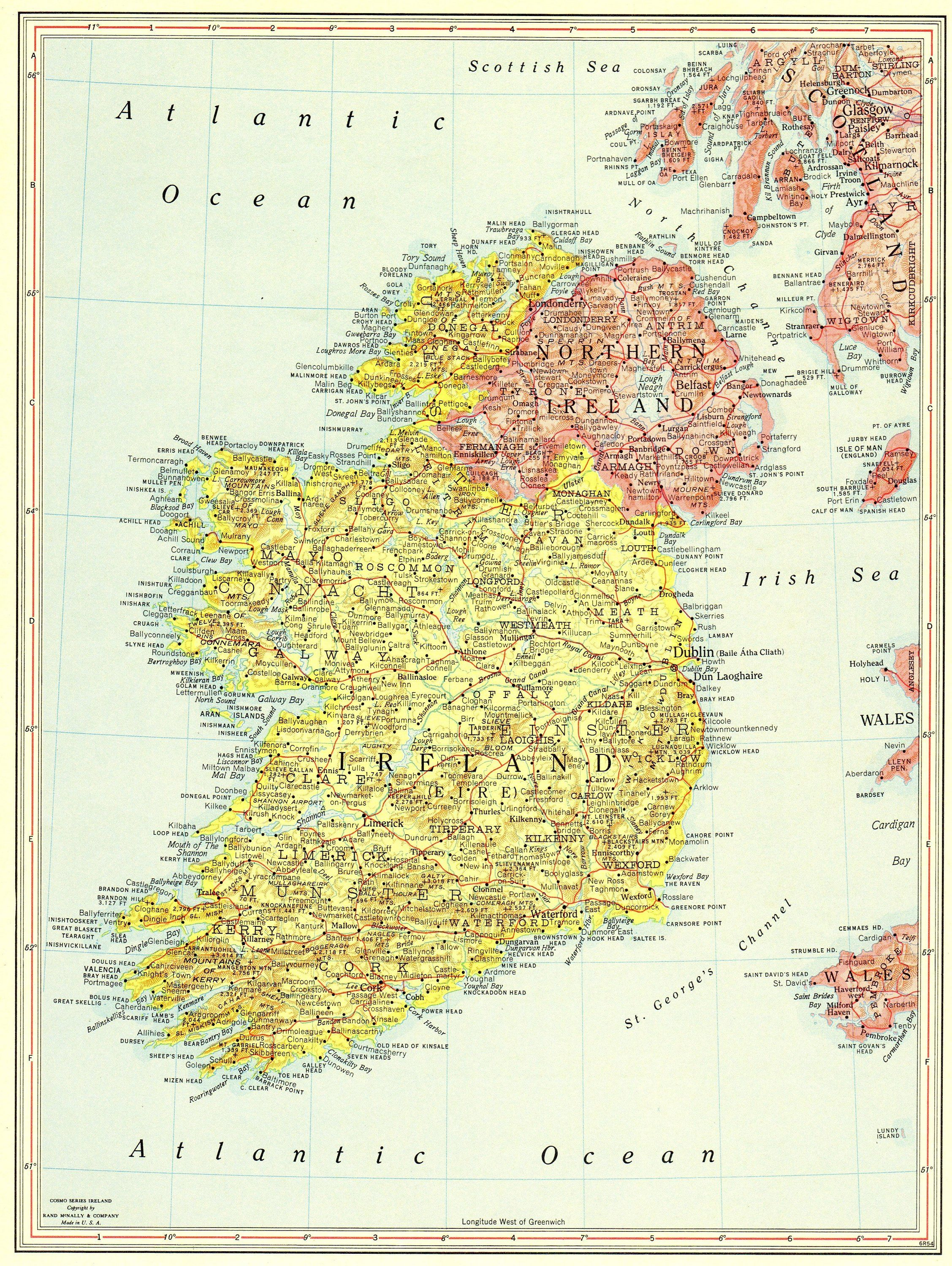 1956 Vintage IRELAND Map Antique Map of Ireland Gallery Wall Art ...
