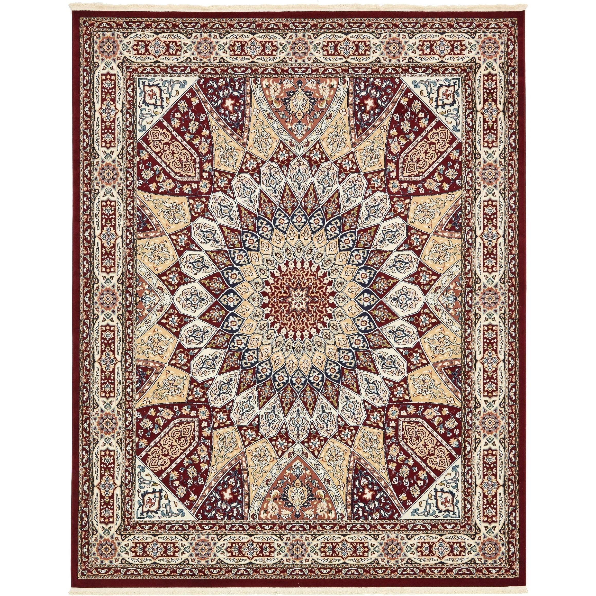 Breathtaking Large Geometric Red 10x12 Bakhtiari Persian: Burgundy Area Rugs 8 X 10