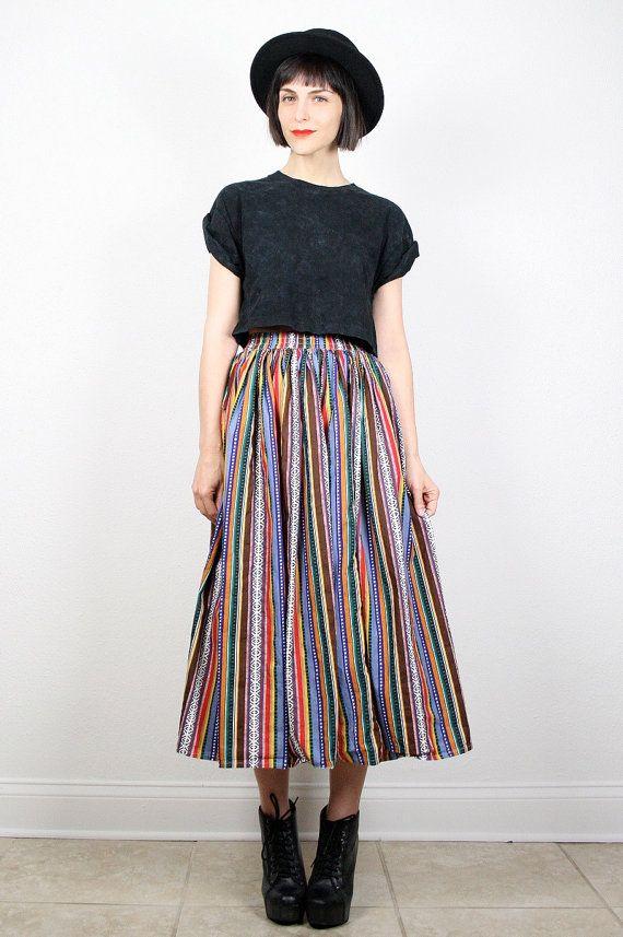 Purple Cotton Skirt Vintage 80s Striped Summer Skirt Cotton Sun Skirt Vintage Summer Skirt