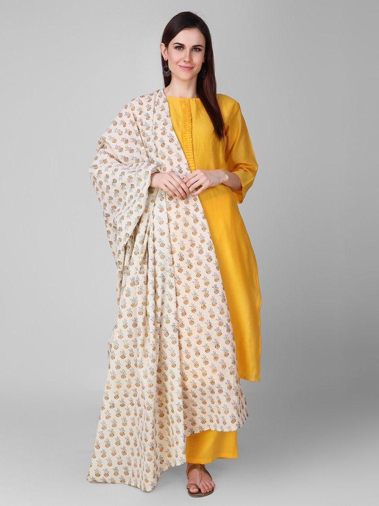 Ihram Kids For Sale Dubai: Ivory Yellow Hand Block Printed Cotton Dupatta