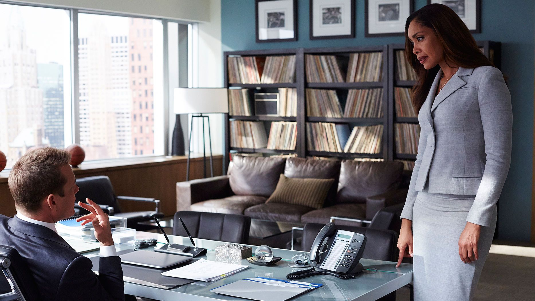 suits harvey specter office. (l-r) Gabriel Macht As Harvey Specter, Gina Torres Jessica Pearson -- (Photo By: Shane Mahood/USA Network) Suits Specter Office E