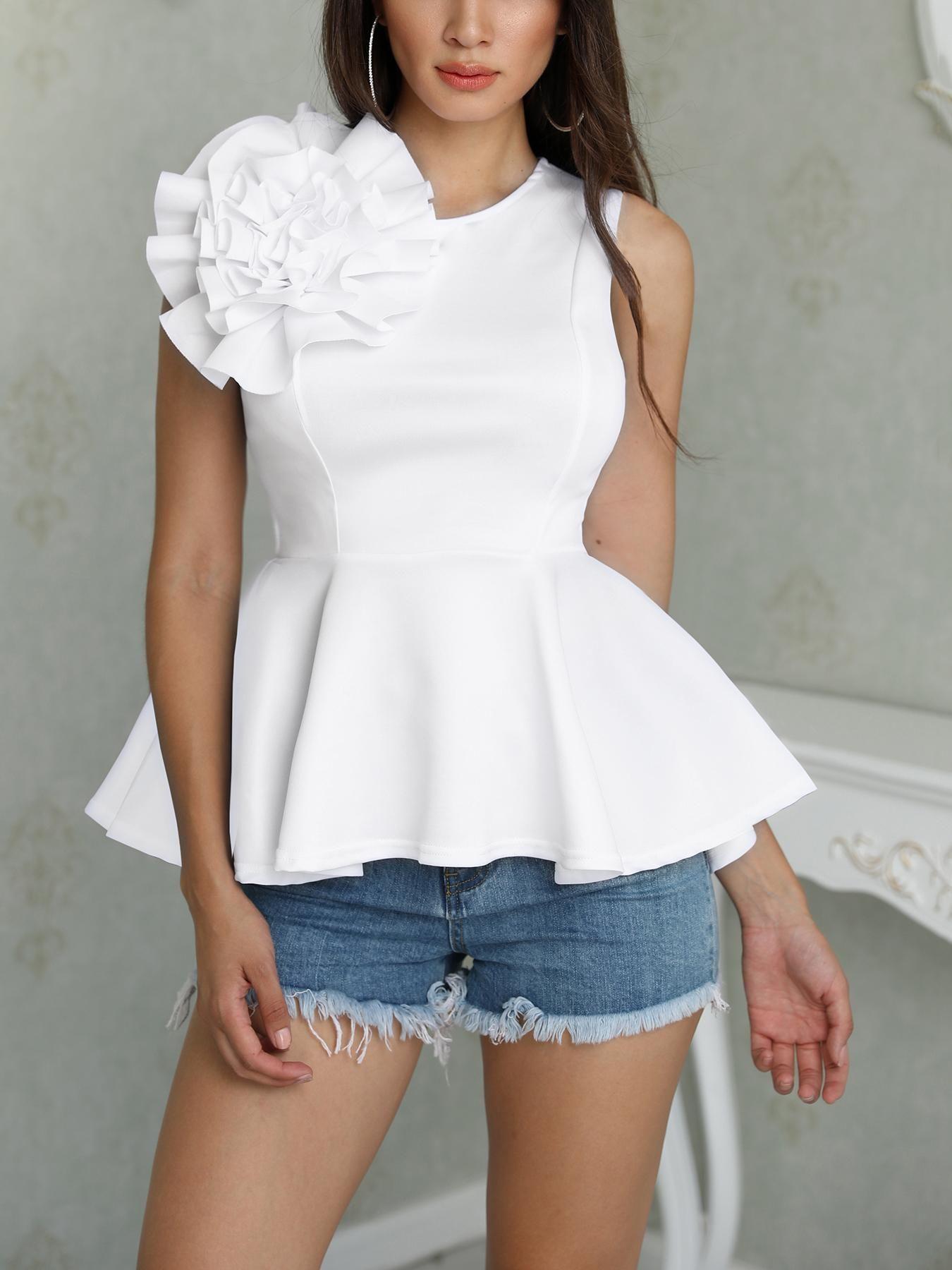 Flower Applique Zipper Back Peplum Top | Fashion, Blouses for ...