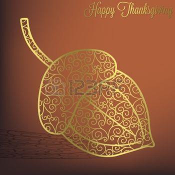 hojas de otoño dibujo: Filigrana tarjeta de bellota de Acción de Gracias en formato vectorial Vector