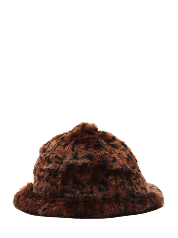 KANGOL LEOPARD PRINT FAUX FUR BUCKET HAT.  kangol  731658cce0a7