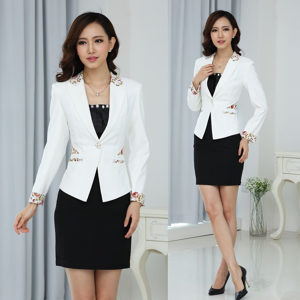 Formal White Blazer Women Skirt Suits for Work Wear Sets Ladies ...