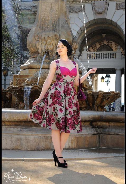 Grace Dress in Baton Rouge Floral on Cinder Satin