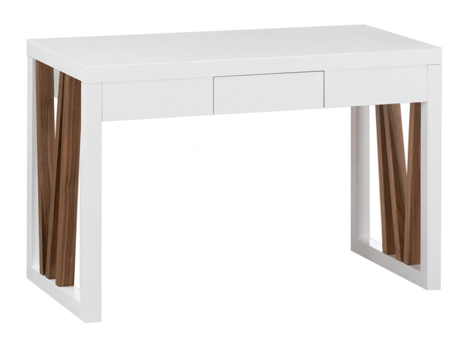 Bureau artesania tiroir mdf blanc laqué et noyer design by