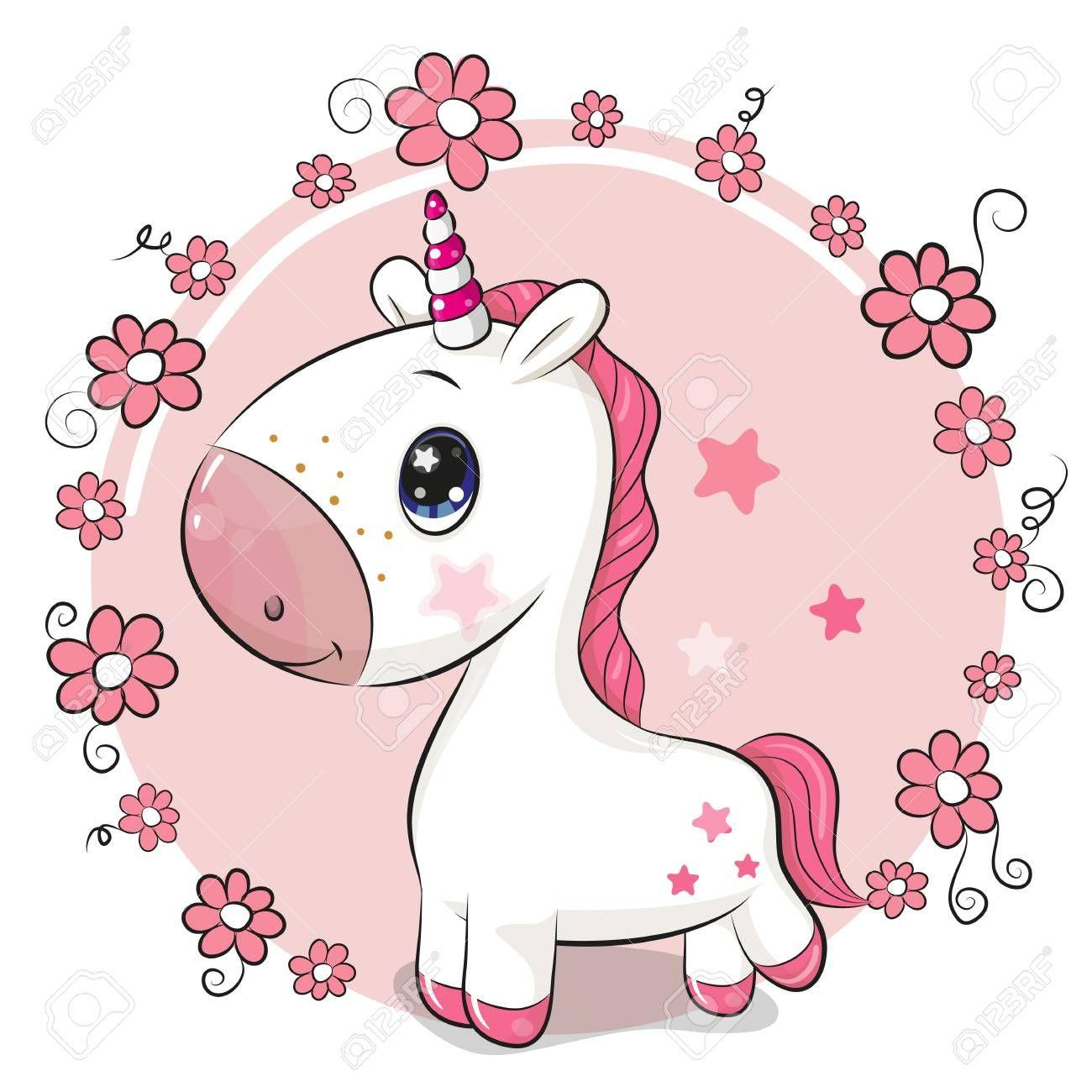 Cute Cartoon Unicorn On A Flowers Background Ad Cartoon Cute Unicorn Background Flowers Niedliche Zeichnungen Cartoon Bilder Einhorn Kunst