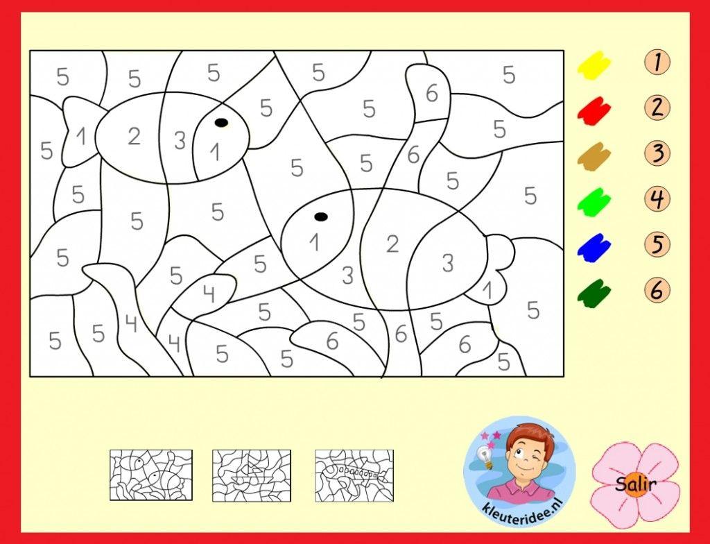 Kleuren Op Nummer Voor Kleuters Op Digibord Of Computer Op Kleuteridee Nl Kleuren Werkbladen Thema