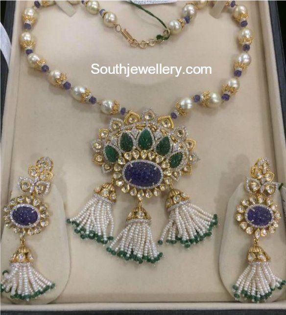 South Sea Pearls Necklace with Diamond Kundan Pendant Necklace