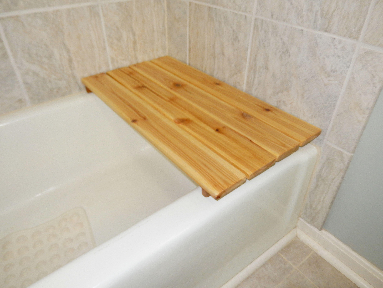 Cedar bath seat. Made of 2 1x4 cedar boards and 1 1x2 cedar board ...