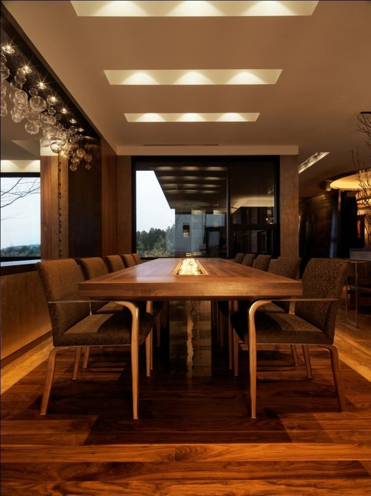 Conference Room Lighting Design: Glass-conference-table-Dining-Room-Contemporary-with-area