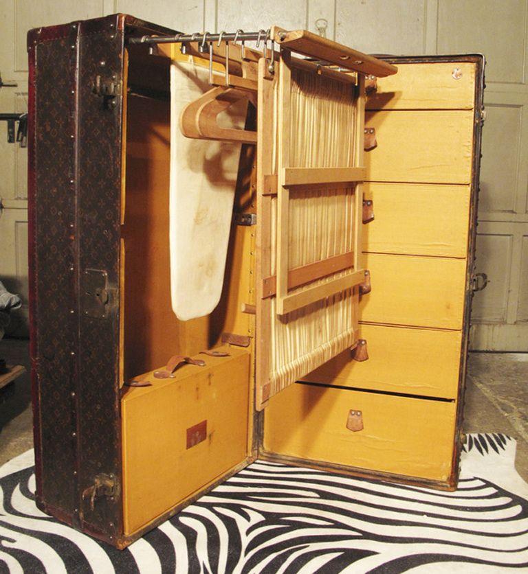 Vintage Wardrobe Steamer Trunk Metal Louis Vuitton Wardrobe Steamer Trunk With Ironing Board