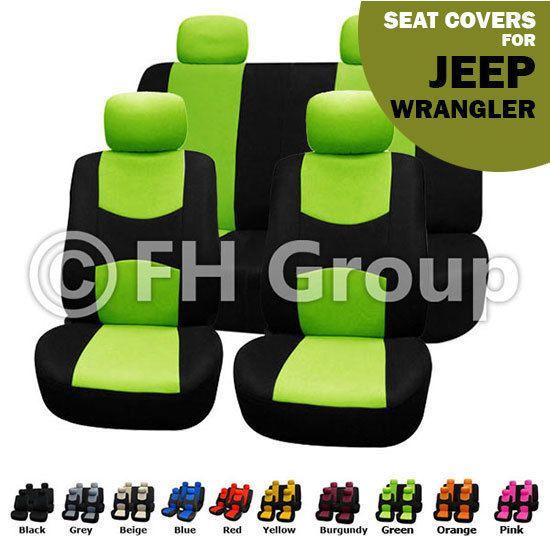 Green Black Flat Cloth Auto Seat Covers Full Set For Jeep Wrangler Jeep Wrangler Green Jeep Jeep Renegade