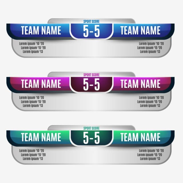 Scoreboard Elements Design For Football And Soccer Soccer