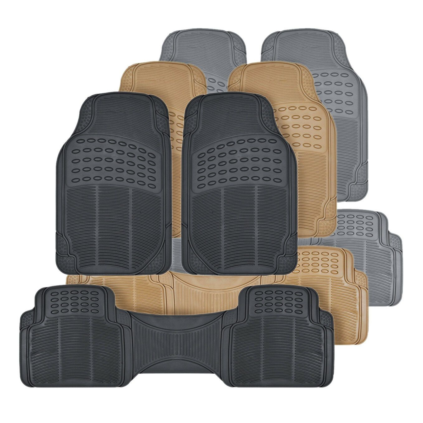 Details About All Weather 3pc Rubber Car Floor Mats And Row Liner Trimmable Front Rear Car Floor Mats Custom Car Floor Mats Floor Mats