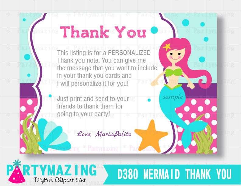 Mermaid Thank You Cards Printable Under The Sea Birthday Thank