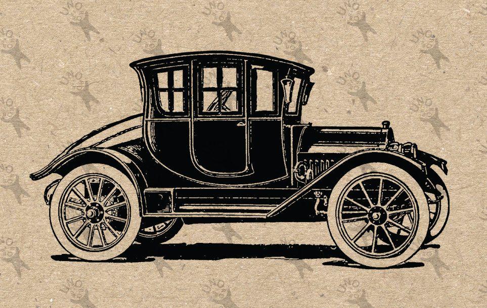Vintage Old Car Oldsmobile Drawing Digital Printable Instant