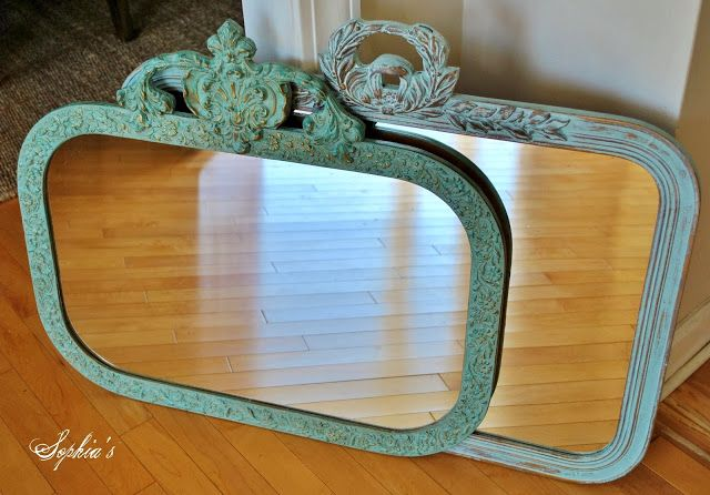 Sophiau0027s: Updating Mirrors With Chalk Paint   Duck Egg Blue, Wet Distress,  White