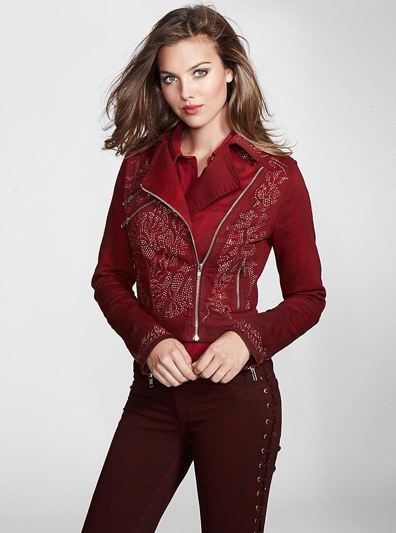 Embellished Denim Biker Jacket #GUESS