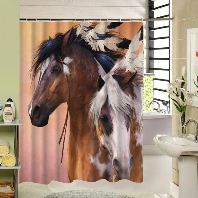 Horse Pattern Shower Curtain With Images Horse Shower Curtain Horses Colorful Curtains