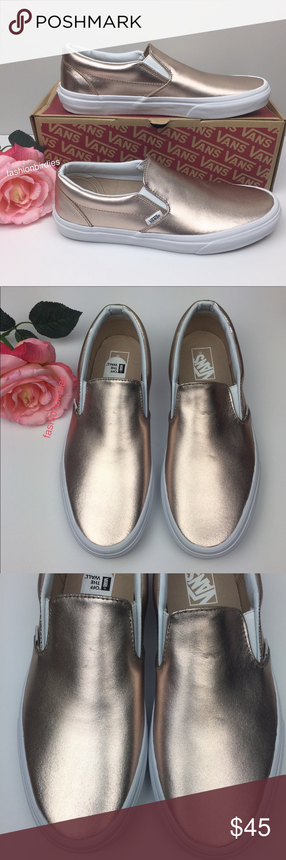 4422234ac75 Vans Classic Slip On Metallic Leather Rose Gold Brand new with box and  sticker Vans Classic