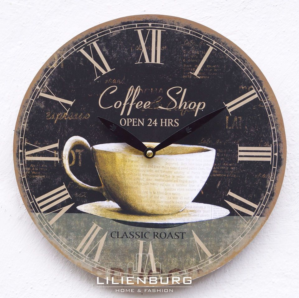 uhr wanduhr cafe kaffee coffee shop tasse vintage nostalgie k chenuhr xl gro kabeltrommel. Black Bedroom Furniture Sets. Home Design Ideas