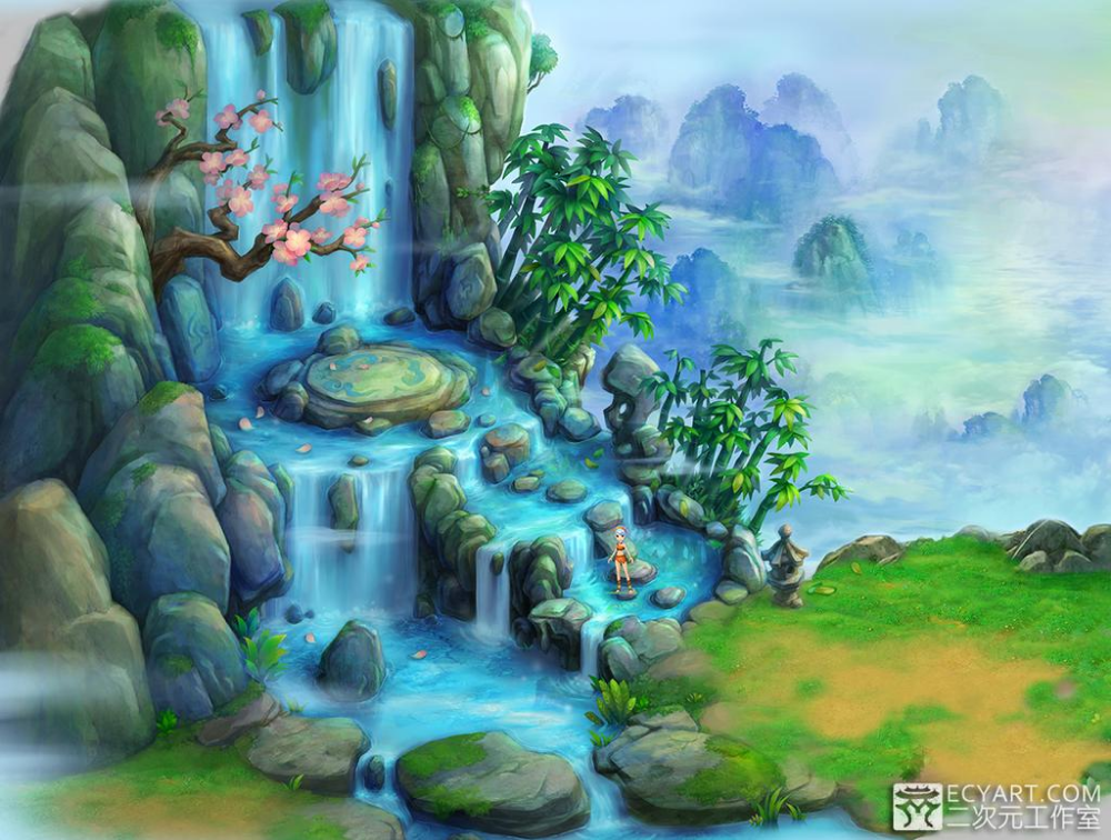 Waterfall by Ecystudio on DeviantArt Waterfall art, Game