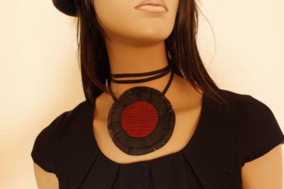 Leather choker necklace, leather disk choker , Leather fringe choker, Gift ideas, Handmade choker necklace