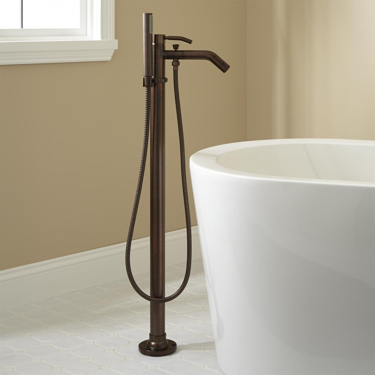 Caol Freestanding Tub Faucet With Hand Shower Comes In Polished