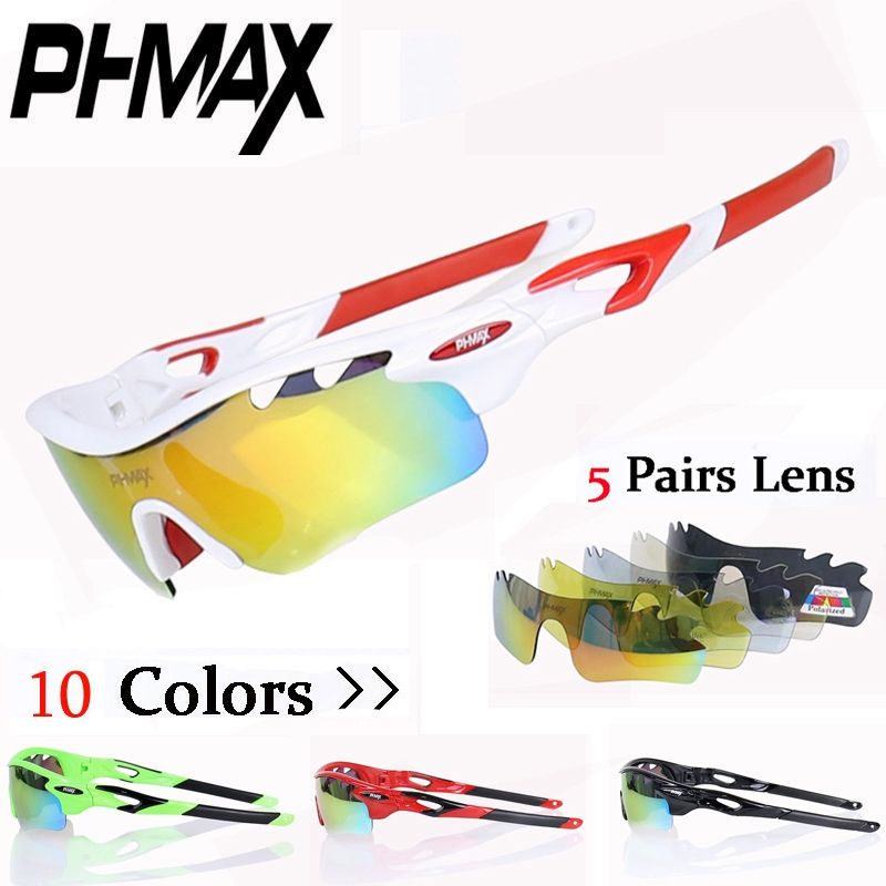 c1d04871e9 PHMAX 2017 New TR90 Frame Cycling Sun Glasses Polarized 5 Lens Mountain  Bike Eyewear Racing Bicycle